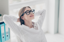 Close Up Photo Beautiful She Her Lady Hands Behind Head Receiver Online Currency Operator Business Start Up Eyes Closed Toothy Eyewear Eyeglasses Sit Bright Office Wear Specs Formal-wear White Shirt