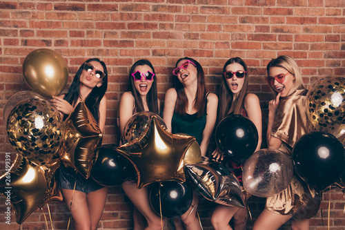Nice-looking company attractive fascinating fashionable gorgeous lovely cheerful Canvas Print
