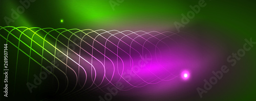 Photo  Techno glowing background, futuristic dark template with neon light effects and