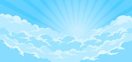 Jednostavna pozadina neba s oblacima i suncem