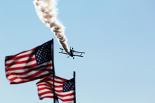 American Flags With Airplane I...