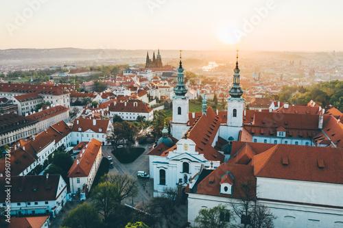 Photo sur Aluminium Con. Antique Aerial panorama of the Old Town, Prague, Czech Republic. Strahov monastery, Prague Castle.