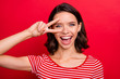 Leinwandbild Motiv Clolse up photo of charming nice attractive lady have holidays relax rest relax make place v-signs face optimistic satisfied glad content wear fashionable youth isolated bright background