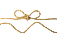 Rope Isolated. Closeup Of Figure Node Or Knot From Two Brown Ropes Isolated On A White Background. Navy And Angler Knot Or Sailors Knot.