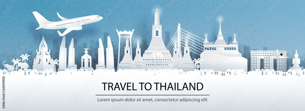 Fototapeta Travel advertising with travel to Thailand concept with panorama view of Bangkok city skyline and world famous landmarks in paper cut style vector illustration.