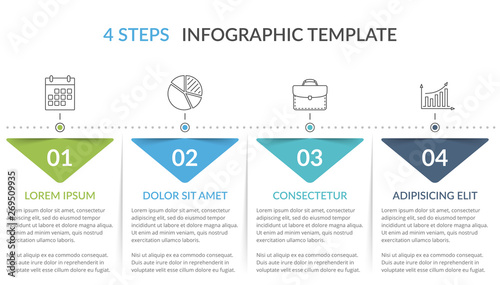 Infographic Template with 4 Steps Tapéta, Fotótapéta