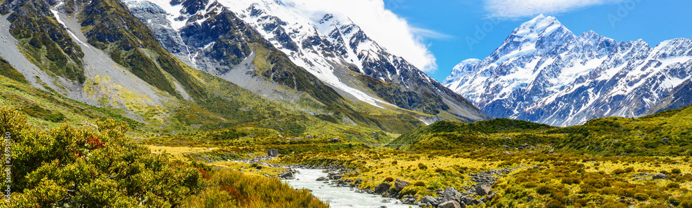 Fototapety, obrazy: Panorama view of Aoraki Mount Cook National Park in New Zealand