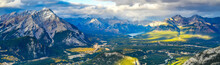 Panorama View Over The Town Of Banff And The Canadian Rockies Seen From Sulphur Mountain.You Can Go To The Mountaintop With A Gondola.