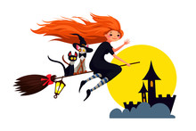 Witch With Red Hair And 2 Funny Cats Fly On  Broom To Celebrate Halloween