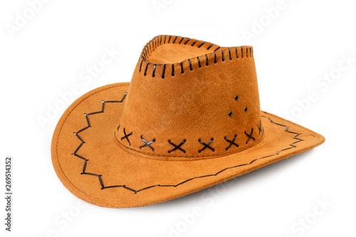 Fotomural Sombrero marrón cowboy sobre fondo blanco aislado