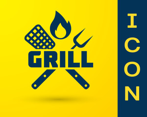 Blue Crossed fork and spatula icon isolated on yellow background. Fire flame sign. BBQ fork and spatula sign. Barbecue and grill tools. Vector Illustration