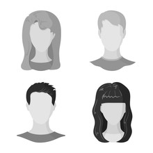 Vector Design Of Character And Profile Icon. Set Of Character And Dummy Stock Vector Illustration.