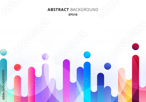 Fotomural  Abstract colorful rounded lines transition elements on white background with circles bokeh