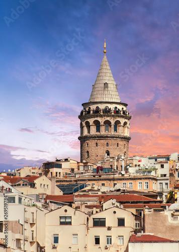 Sunset over Galata Tower in Turkey