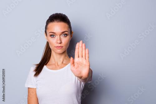 Valokuva  Close up photo amazing beautiful she her lady arm hand one palm raised up not al