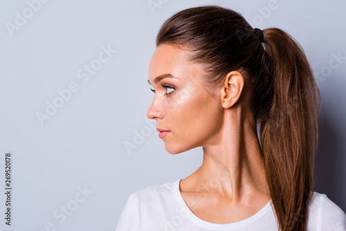 Photo Close up side profile view photo amazing beautiful she her lady perfect appearan