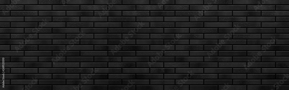 Fototapeta Panorama of Modern black brick wall texture for background