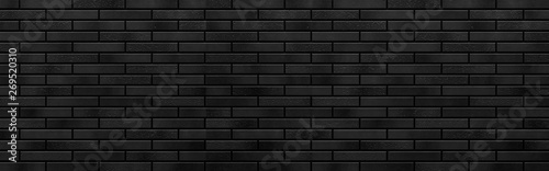 Gris traffic Panorama of Modern black brick wall texture for background