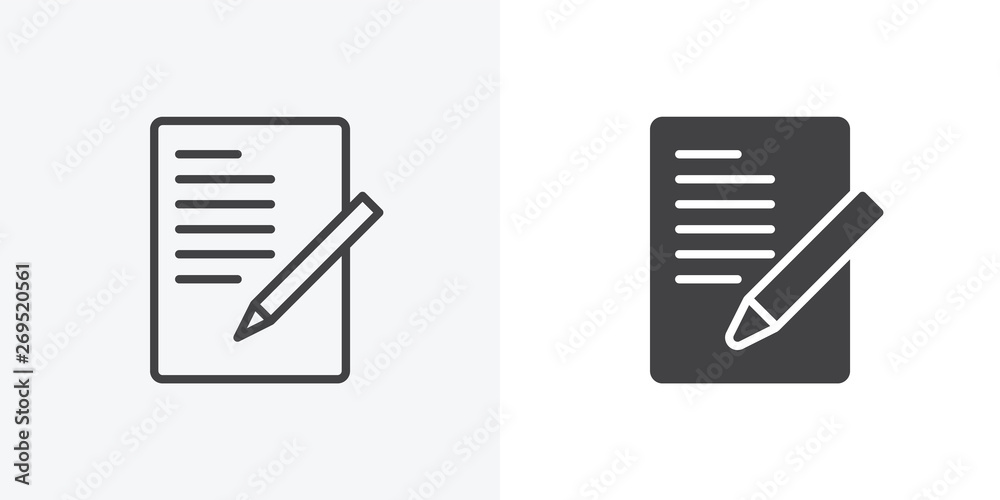 Fototapeta Document with pen, form icon. line and glyph version, Sheet of paper and pencil outline and filled vector sign. linear and full pictogram. Symbol, logo illustration. Different style icons set