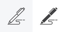 Pen, Write Icon. Line And Glyp...