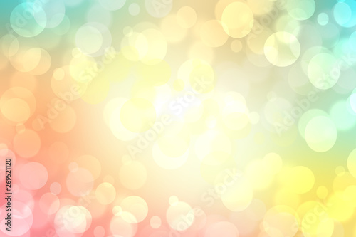 Fotografiet  Abstract blurred fresh vivid spring summer light delicate pastel pink green bokeh background texture with bright circular soft color lights