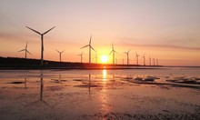 Sunset Of Wind Farm At Gaomei ...