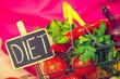 Leinwandbild Motiv Shopping backet with dieting vegetables