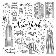 New York Hand Drawn Vector Set...