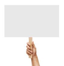 Man's Hand Holding Empty Board...