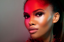 Fashionable Portrait Girl In Neon Light Background. Portrait Of Beautiful Black Woman. Futuristic Abstract  Red Neon Light Background - Image.