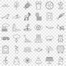 Catastrophe Icons Set. Outline...