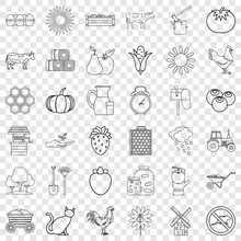 Cow Icons Set. Outline Style Of 36 Cow Vector Icons For Web For Any Design