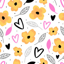 Floral Seamless Pattern For Print, Fabric, Wallpaper. Modern Hand Drawn Flowers Background.