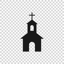 Grey Church Building Icon Isolated On Transparent Background. Christian Church. Religion Of Church. Vector Illustration