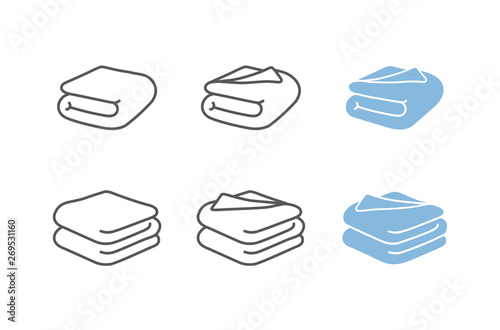 Obraz Set of towel vector illustrations. Folded towels in flat cartoon and line icon style, blanket, sheet - fototapety do salonu