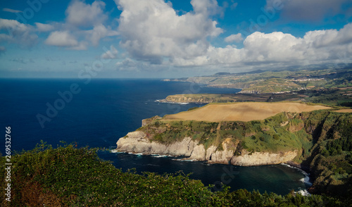 Panorama view to coastlani of Sao Miguel island from Santa Iria viewpoint. Azores. Portugal