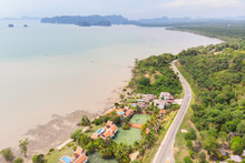Coastline And Road Aerial View