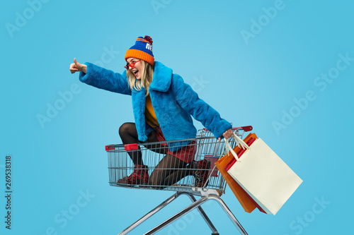 Young woman approving crazy shopping Tableau sur Toile