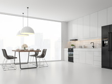 Minimal Style Kitchen And Dining Room 3d Render.There Are White Floor And Wall, Glossy White Cabinet Doors,Dark Brown Leather Chair,The Room Has Large Windows. Lookink Out To The City View.