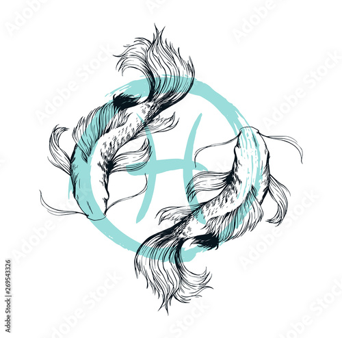 Pisces sign hand drawn illustration isolated Canvas Print