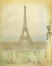 Vintage Background And Eiffel ...