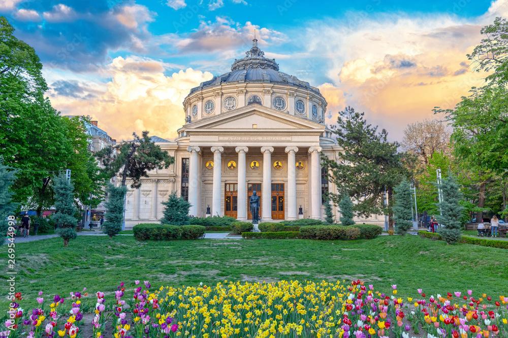 Fototapeta Romanian Atheneum, an important concert hall and a landmark in Bucharest, Romania. Sunset colors.