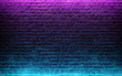 Modern futuristic neon lights on old grunge brick wall room background. 3d rendering