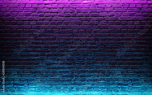 Fotografie, Obraz  Modern futuristic neon lights on old grunge brick wall room background