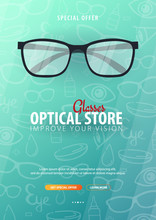 Banner For Glasses Clinic Or Optical Store With Eye Glasses. Hand Draw Doodle Background.