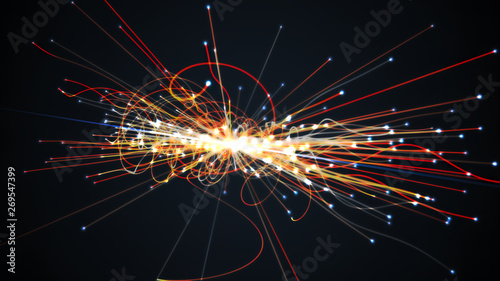 Particles collision in Hadron Collider. Astrophysics concept. 3D Wallpaper Mural