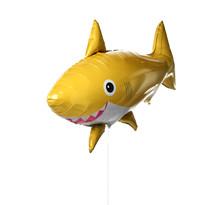 Yellow Shark Fish Metallic Balloon Isolated On A White