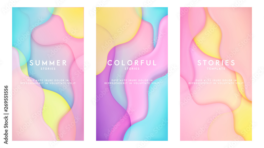 Fototapety, obrazy: Dynamic colorful stories template design set with fluid rainbow gradient transparent elements. Creative illustration for poster, web, landing, page, cover, ad, greeting, card, social media, promotion.