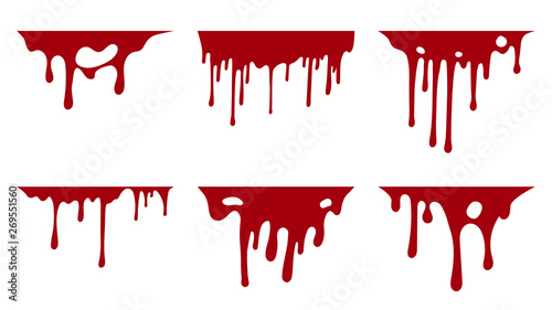 Hand drawn collection of blood paint splatter backgrounds Canvas Print