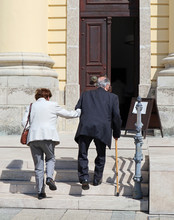 Old Couple Is Going To Church